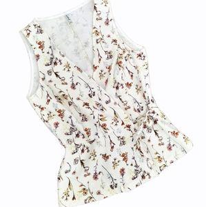 Linen cotton wrap floral sleeveless blouse